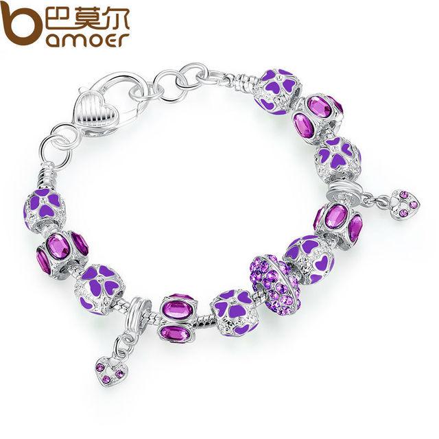 Nowa kolekcja zima srebrny Charms bransoletka dla kobiet z różowy kryształ Murano Glass koraliki PA1400