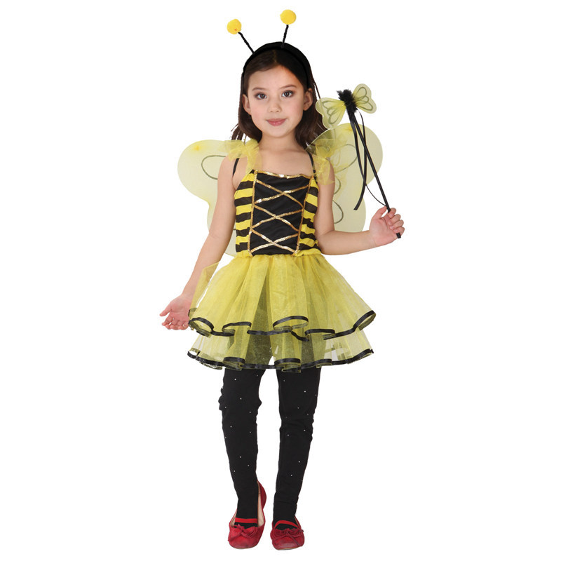 Girls Honey Bee Dress Child Insect Cosplay With Wings Fancy Kids Halloween Yellow Party Costume Gift Tower Princess Dresses