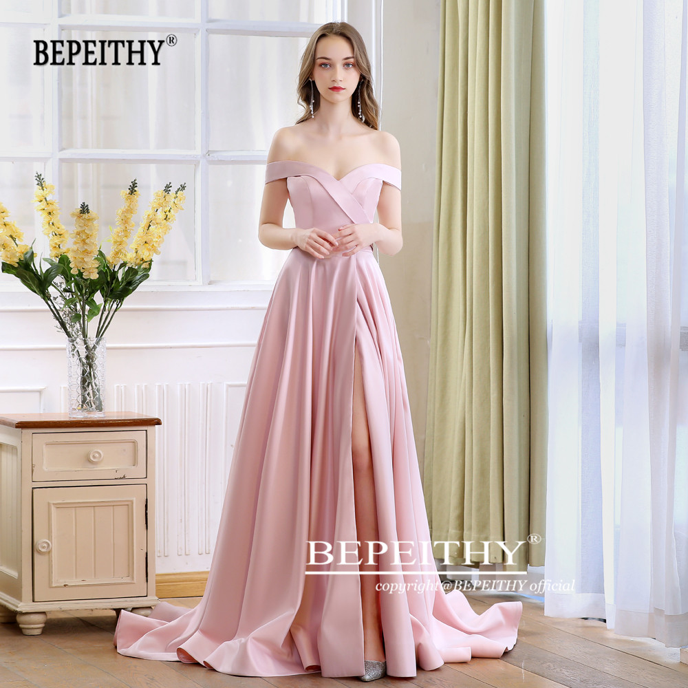 2019 BEPEITHY Spring Robe De Soiree Pink Off The Shoulder Evening Dresses With High Slit Sexy Long Prom Party Dress Abendkleider