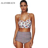 ALANSBEACH Swimsuit Plus Size High Waist Bikini Set Swimwear Halter Strappy Sexy Bathing Suit Print Swimming