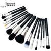 Jessup Pro 15pcs Makeup Brushes Set Powder Foundation Eyeshadow Concealer Eyeliner Lip Brush Tool Black Silver
