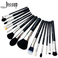 Jessup Pro 15pcs Makeup Brushes Set Powder Foundation Eyeshadow Concealer Eyeliner Lip Brush Tool Black Silver