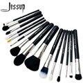 Jessup pro 15 unids pinceles de maquillaje polvos sombra de ojos corrector delineador lip brush tool negro/plata