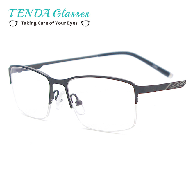 5591a3c082 Men Lightweight Glasses Frame Metal Half Rim Square Spectacles Prescription  Eyeglasses for Clear Lens with Degree