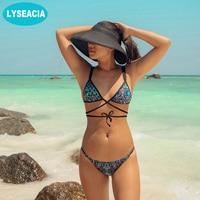 LYSEACIA Sexy Thong Bikini Women Low Waist Micro Bikinis Set Swimsuit Printed Strings Adjustable Waist Soft