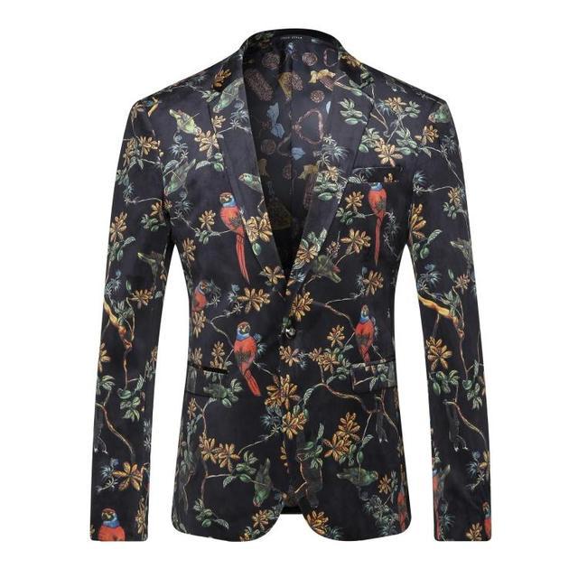 Европа и соединенные Штаты мужская одежда осенью 2016 новый зима С Длинными рукавами красный попугай цветочные набивным бархатом куртки