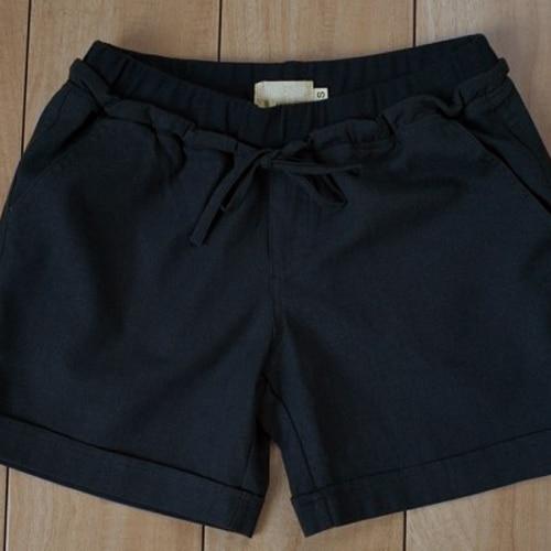 Shorts Feminino Pockets Sashes 2016 Summer Loose Plus Size Women Shorts Cotton Linen Casual Female