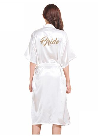 Gold Stamp 'Bride' Silk Satin Long Bride Robes Half Sleeve Kimono Night Robe Solid Bathrobe Fashion Dressing Gown For Wome