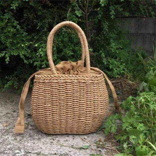 Rattan Woven Straw Picnic Bag Summer Beach Basket Summer Vacation Women Camping Handle Handbag Dropshipping