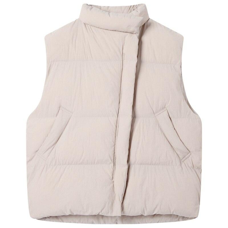 noir Hiver Court Gilet De Pain Épais Femelle En Bas Col Veste Noir Robe Le Montant Beige Coton Blanc Ample Vers Et RAFpTrfqR
