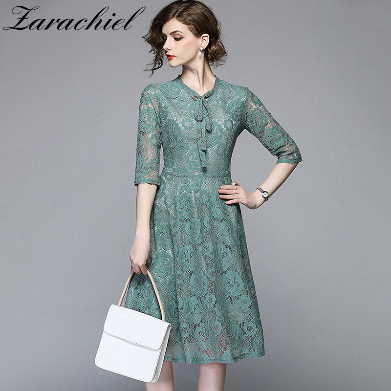 a2336825f1 Vintage Lace Dress Women 2019 Floral Hollow Out Half Sleeve Bow Collar A  Line Elegant Midi