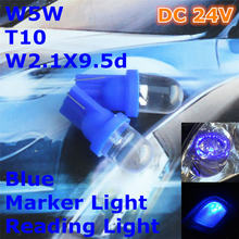 24V LED Blue Color Car Bulb Lamp T10(10mm Spot Lamp)W5W W2.1X9.5d for Door Trunk Boot Licence Reading Light(China)