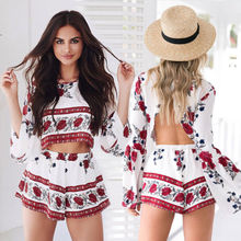 2pcs set Women summer Floral Sexy Clubwear O Neck long sleeve Playsuit Bodycon Party Rompers Jumpsuit