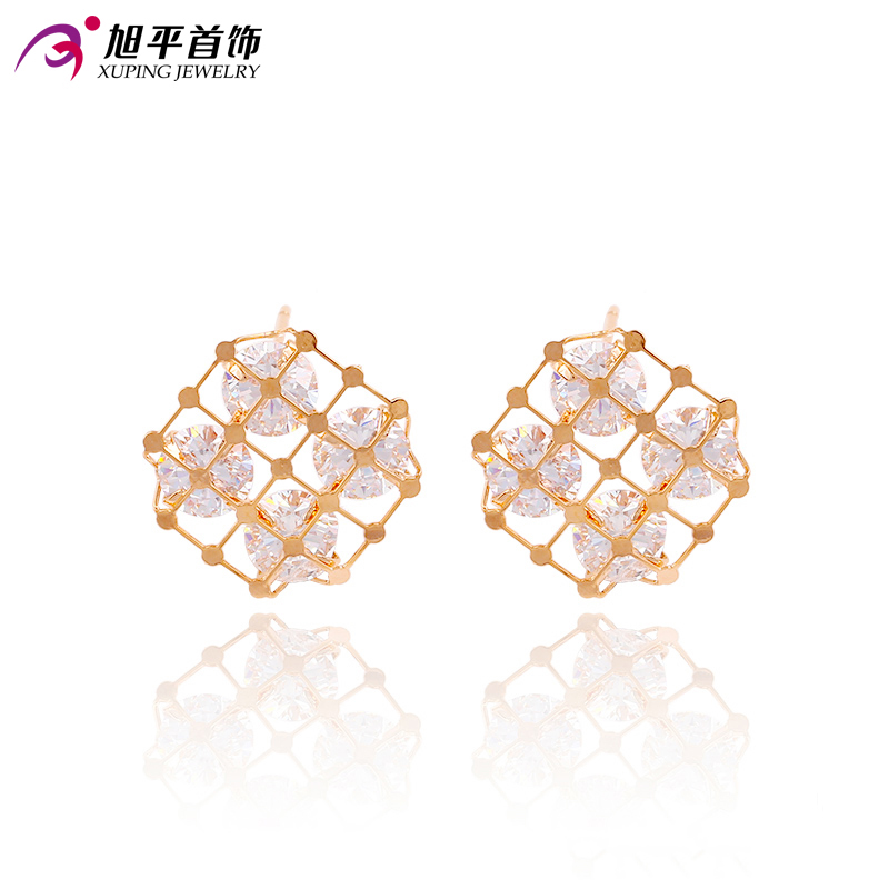 Xuping  Gold Color Plated With White Synthetic CZ Wholesale Jewelry Earrings For Girls Women Gift 90617