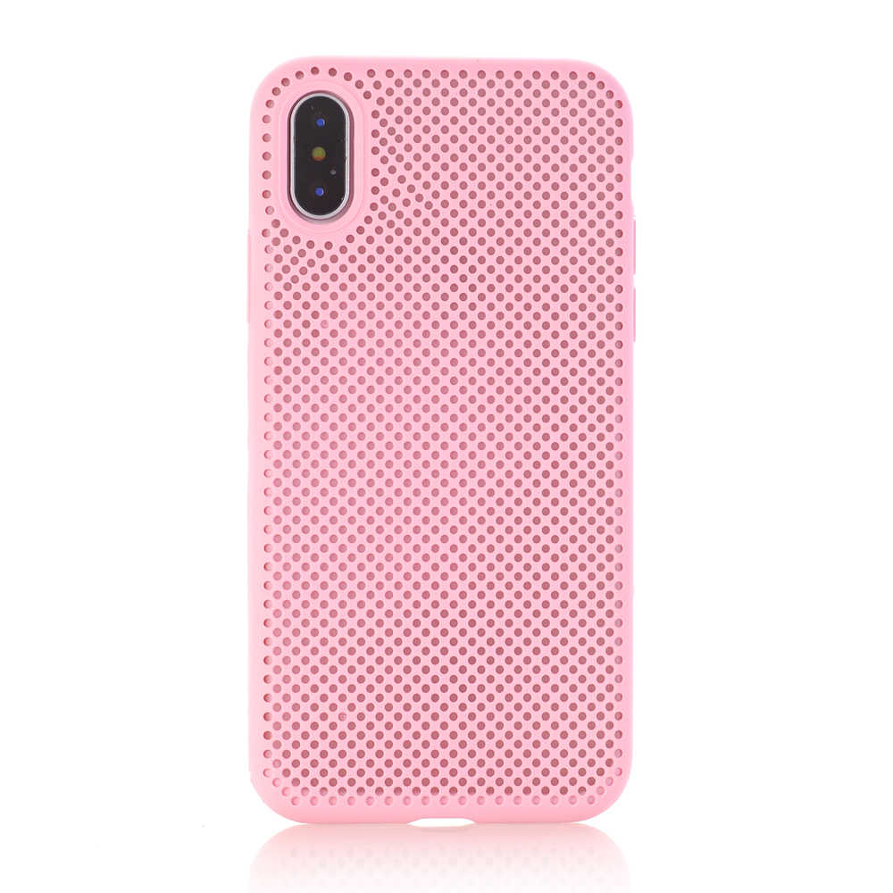 Ascromy For iPhone X Case Soft Silicone TPU Mesh Back Breathable Protection Cover for iPhone 8 Plus 7 6 6S 10 Fundas Accessories