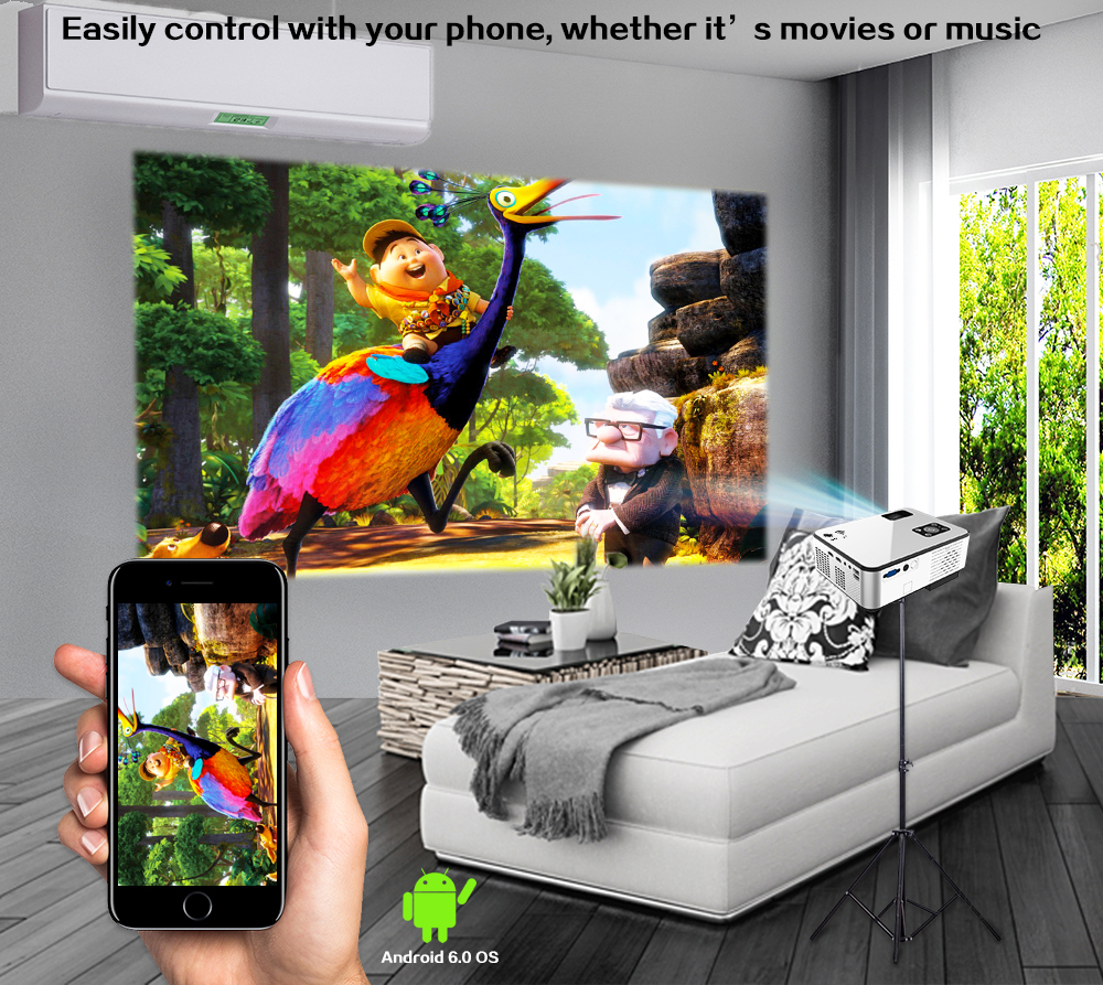 CRENOVA 2019 Newest Android Projector 1280*720P Support 4K Videos Via HDMI Home Cinema Movie Video Projector