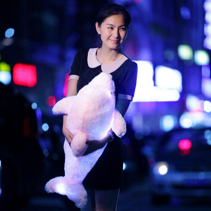 1pc 45/70cm Creative Luminous Plush Dolphin Doll Glowing LED Light Plush Animal Toys Colorful Doll Pillows Kids Children'S Gift