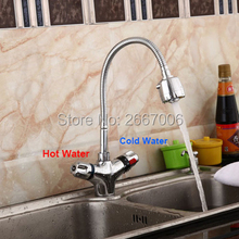 Free Shipping Flexible 360 degree Faucet Pull Down Thermostatic Kitchen Sink Faucet Temperature Adjust Mixer Valve taps ZR985