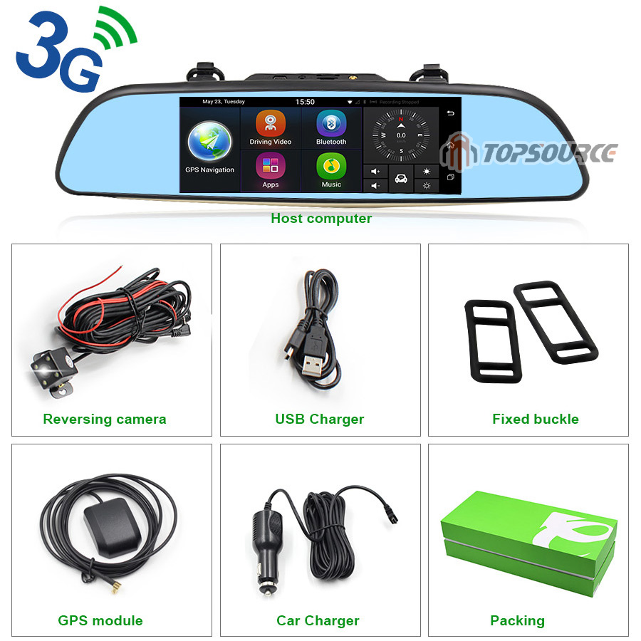 """TOPSOURCE Auto GPS ANDROID 5.0 1G/16G 3G 7"""" IPS Car DVR Mirror Camera Dual Lens 1080P Video Recorder Dash Cam Parking Monitor 21"""