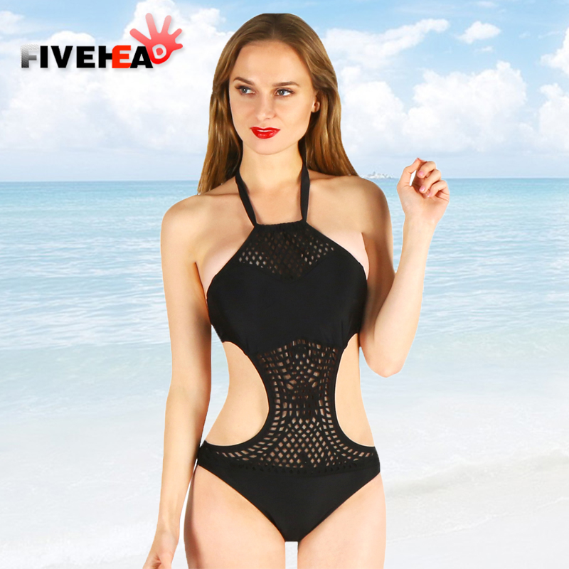 one-piece women swimwear sexy sling halter deep v solid color large size big bust bathing swimsuit push up female back lace sexy halter push up solid color three piece swimwear for women