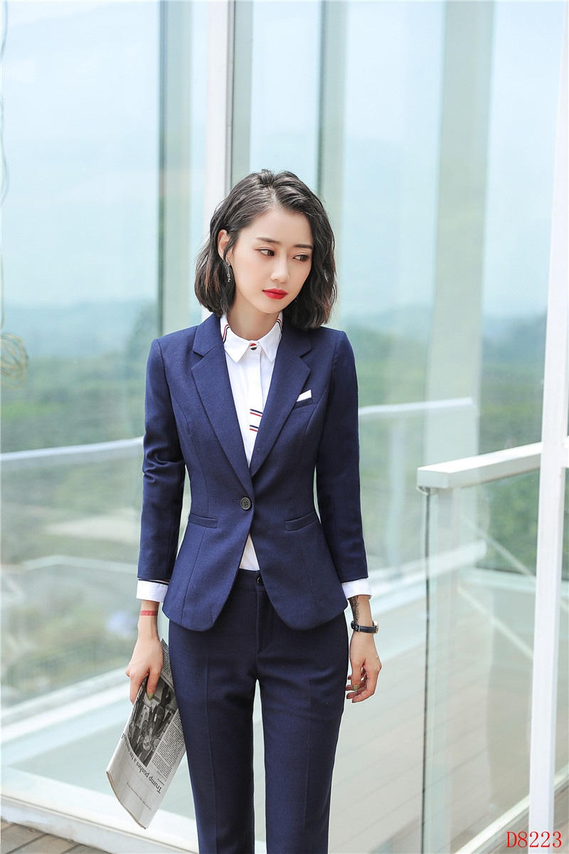 Ladies Navy Blue Blazer Women Business Suits Formal Office Suits Work Wear Uniforms Pant And Jacket Sets Ol Styles Suits & Sets