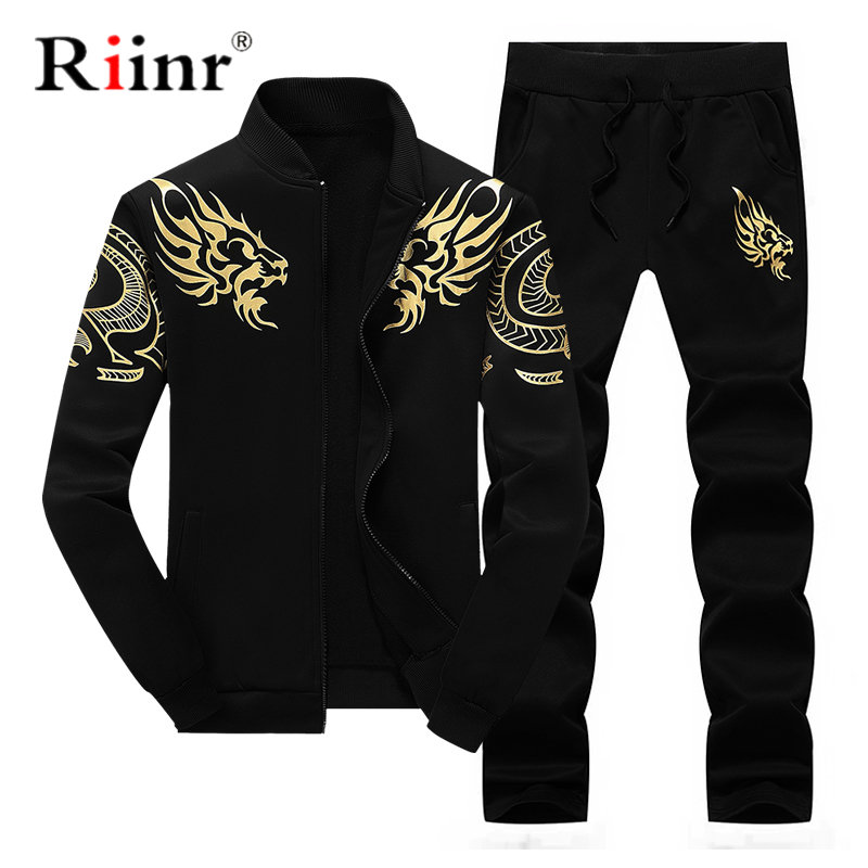 Mens Tracksuit Outwear Hoodie Set 2 Pieces Autumn Sporting Track Suit Male Fitness Stand Collar Sweatshirts Jacket+Pants Sets