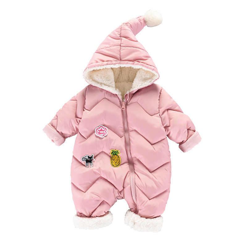 Winter Rompers Baby mädchen neugeborene Kleidung Kinder Jungen Mädchen Overall Kinder Unten Baumwolle Overalls schneeanzug Hoodies warme Kleidung