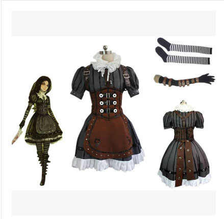 Алиса: безумие возвращается платье в стиле стимпанк Косплэй костюм на заказ Любой Размер