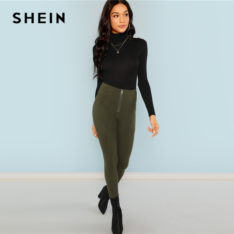 e5935702aa ... Women Clothing; /; SHEIN Black High Neck Long Sleeve Top. Add to  Wishlist
