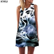 KYKU Brand Tiger Dress Women Animal Short Fantasy Tank Black Office Geometric 3d Print Womens Clothing Tassel Ladies