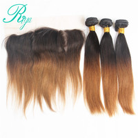 Riya Hair 1B/30 Ombre Straight Hair 3/4 Bundles With 13* 4 Lace Frontal Brazilian Human Hair Extension With Closure Remy Hair