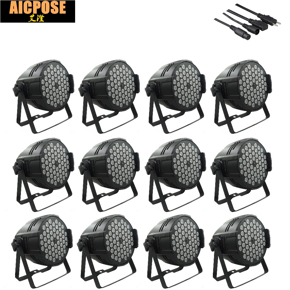 где купить 12pcs/lots 54x3w led Par lights RGBW flat par led dmx512 disco lights LED Stage Par Light Wash Dimming Strobe Lighting Effect по лучшей цене