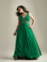 купить A-1241 Plus Size Sexy V-neckline Chiffon Ruffle Green Prom Dress wholesale по цене 7954.79 рублей