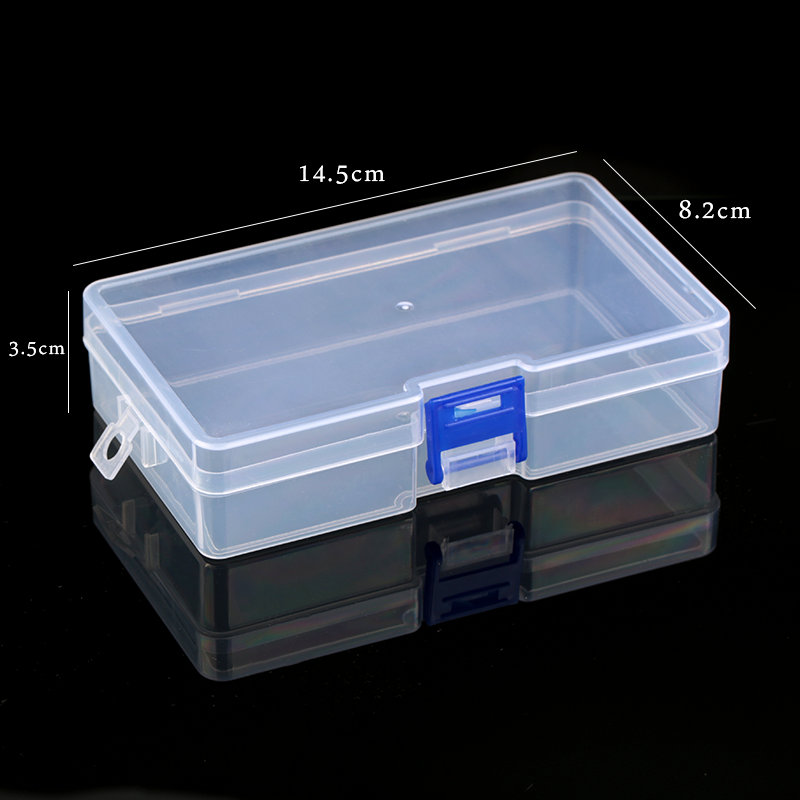 One Piece 14.5x8x3.5CM Plastic Storage Box Rectangle Transparent Jewelry Container Jewelry Box Case For Beads Earrings Bracelet