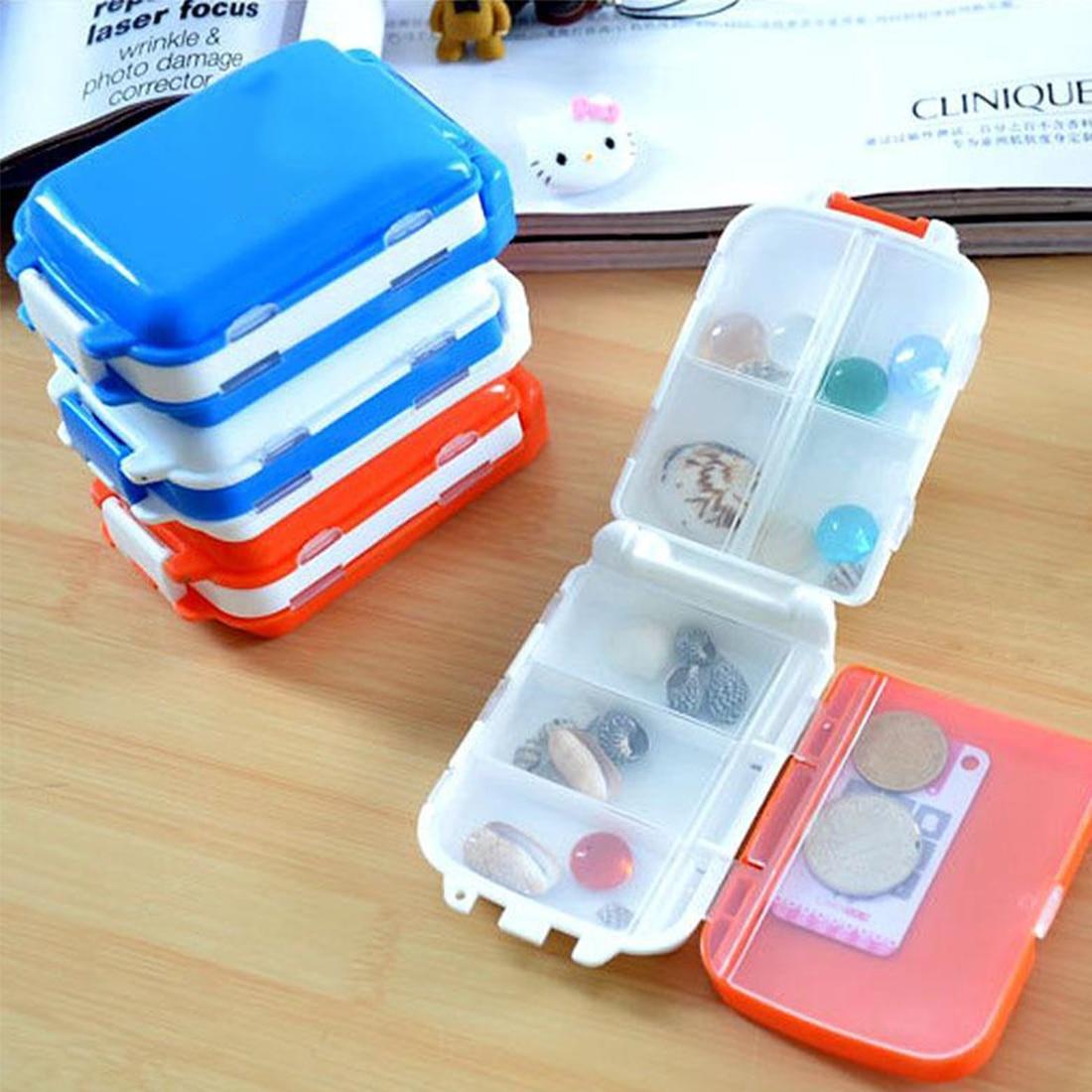 New 1pc Random Color 8 Compartments 3 Layers Folding Pill Box Medicine Container Portbal Pills Case Mini Jewelry Organizer
