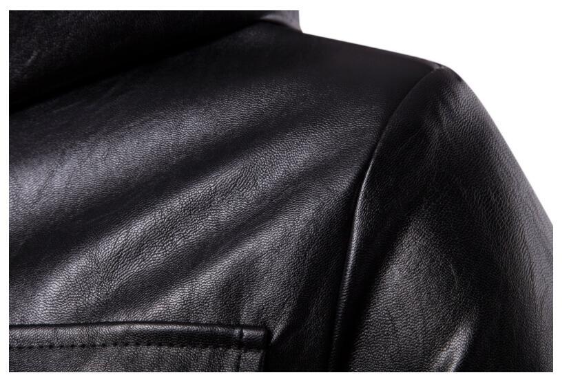 Mens giacca di pelle del motociclo sottile lungo cappotto di pelle giacche da uomo vestiti di strada personalizzato nero di modo di autunno inverno - 4