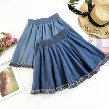 AcFirst Spring New Blue Women Skirts High Waist A-Line Mini All-match Clothing Casual Tassel