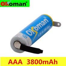 Аккумуляторная батарея Okoman AAA 1,2 В, 3800 мА/ч, Ni-MH элемент AAA со сварочными вкладками, шпильки, плоский верх, для игрушек, беспроводного телефона +...