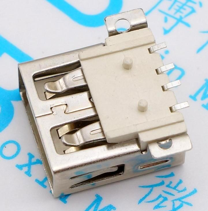 10pcs USB Female Seat AF SMD Connector Full SMD Big 4PIN Type A Mother A Free Shipping