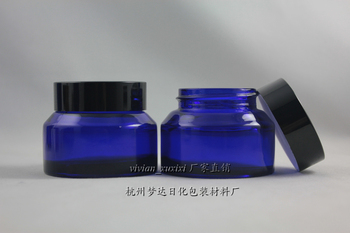 30pcs wholesale 50g blue glass cream jar with black aluminum lid,empty 50g cosmetic jar for mask or eye cream,50g glass bottle