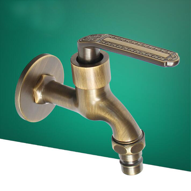 High Quality Antique Brass Decorative Garden Faucets Single Cold Bibcocks  Washing Machine Tap Outdoor Faucet