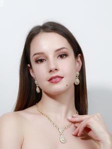 Cwwzircons Jewelry-Sets Wedding-Necklace Dubai Micro-Pave Bridal Gold-Color Luxury Stones