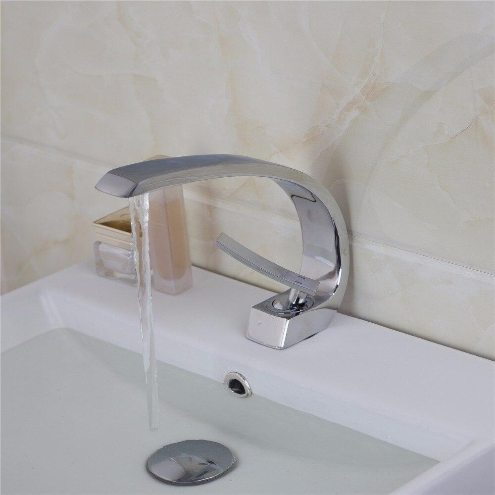 Brass Bathroom Single Handle Mixer Tap Chrome Finished: KEMAIDI Polished Elegant Bathroom Chrome Brass Faucet