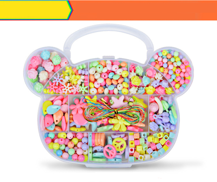 Children DIY Plastic Acrylic Bead Kit Girl Toys DIY Beaded Handmade Bracelet Amblyopia Training Color Puzzle Early Education Toy (3)