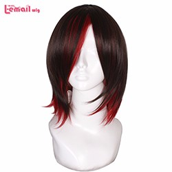Free-Shipping-RWBY-Red-Ruby-Rose-35cm-brown-Red-straight-short-cosplay-party-wigs-ZY48-New