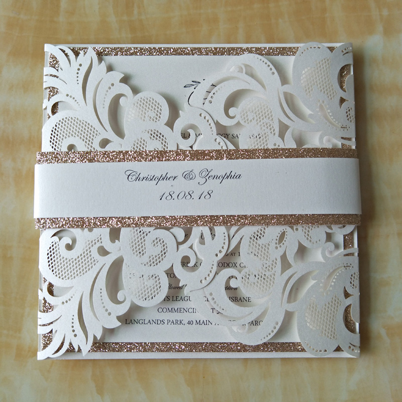 Wholesale wedding invitations elegant laser cut wedding invitations 12pcs luxury ivory laser cut wedding invitations cards glitter gold birthday party invites with belt solutioingenieria Gallery