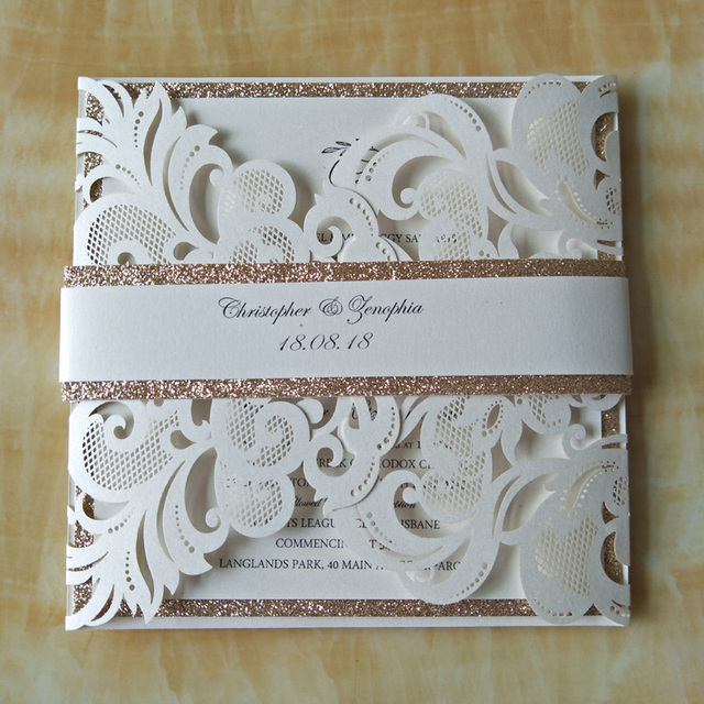 Aliexpress buy 12pcs luxury ivory laser cut wedding 12pcs luxury ivory laser cut wedding invitations cards glitter gold birthday party invites with belt filmwisefo