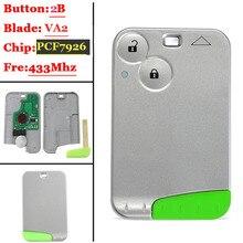 Дистанционный смарт ключ 2 кнопки карты 433 МГц Pcf7926 транспондер чип для Renault Laguna 2 Espace управления
