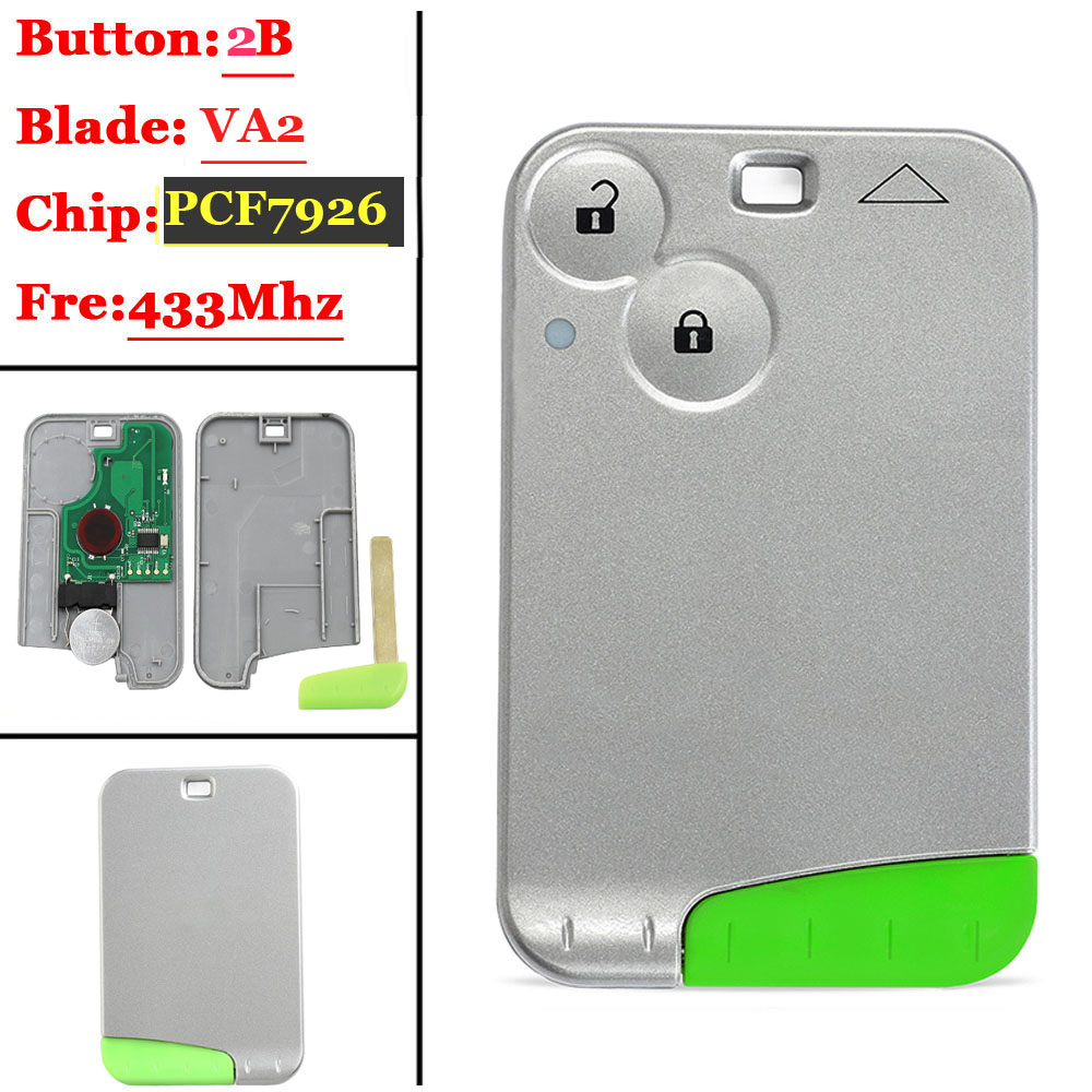 Big Discount 2 Button 433MHZ  Pcf7926 Chip Remote Card  For Renault Laguna With Green Blade Without Logo  (1piece)