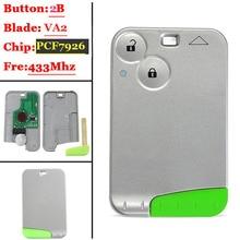 Remote Smart Key 2 Button Card 433MHZ  Pcf7926 Transponder Chip  for Renault Laguna 2 Espace  Control